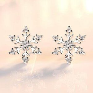 *NEW Sterling Silver Diamond Snowflake Earrings